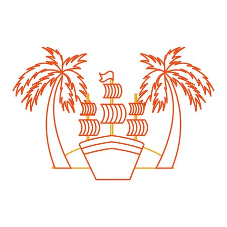 Antique sailboat on the beach vector illustration design Иллюстрация