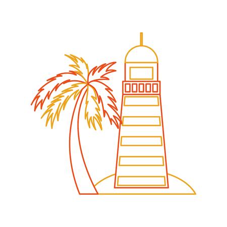 Overzeese vuurtoren op het ontwerp van de strandillustratie