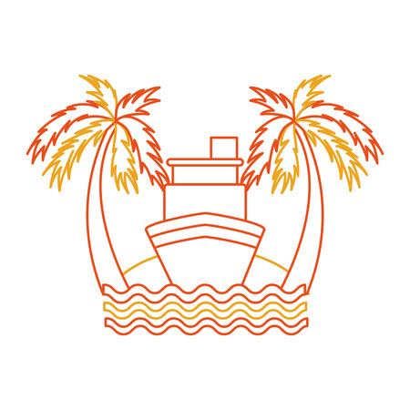 ビーチのイラスト デザインのクルーズ船