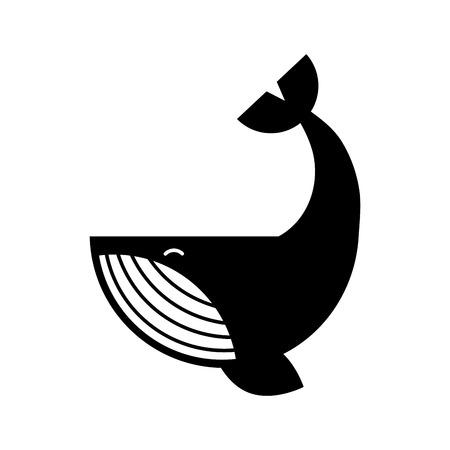 Diseño aislado de la ilustración del icono de la ballena jorobada