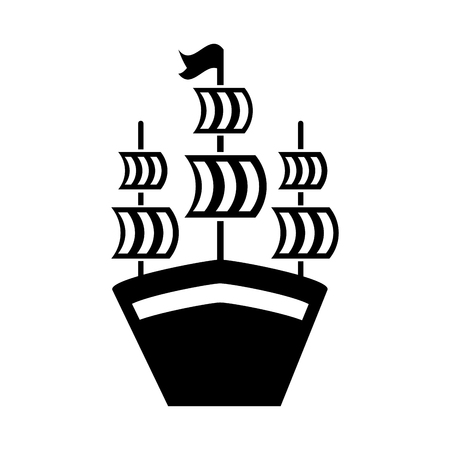 Antique sailboat isolated icon illustration design Illustration