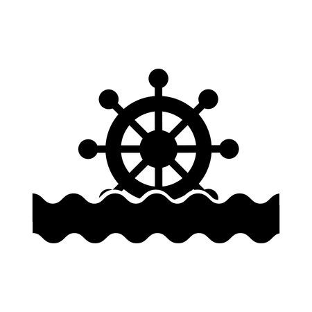 바다 파도와 보트 timon 벡터 일러스트 레이 션 디자인 스톡 콘텐츠 - 84616091