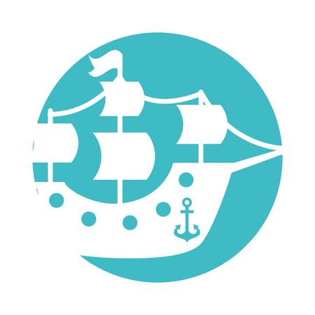 アンティーク ヨット分離アイコン イラスト デザイン