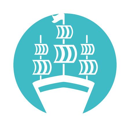 アンティーク ヨット分離アイコン ベクトル イラスト デザイン