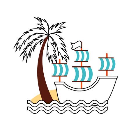 골동품 요트 해변 벡터 일러스트 디자인