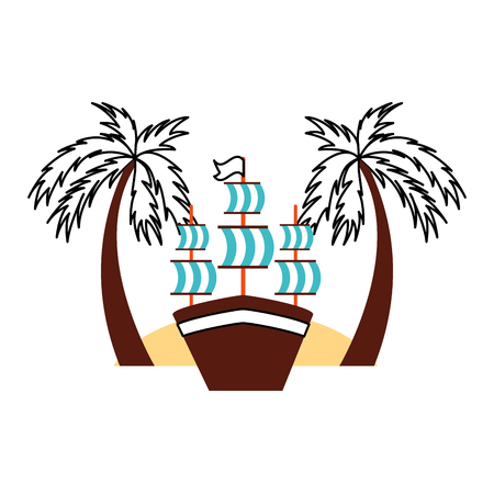 antique sailboat on the beach vector illustration design