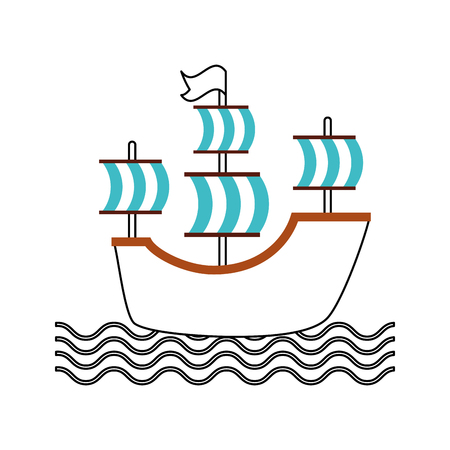 Antikes Segelboot isoliert Symbol Vektor-Illustration , Design , Standard-Bild - 84616167