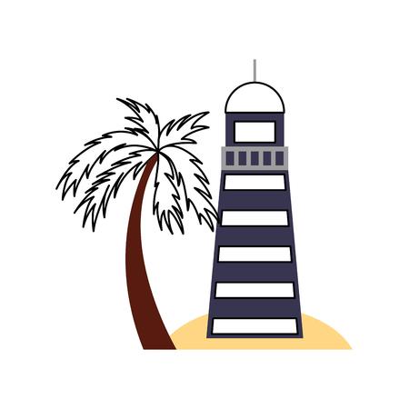 Overzeese vuurtoren op het ontwerp van de strand vectorillustratie