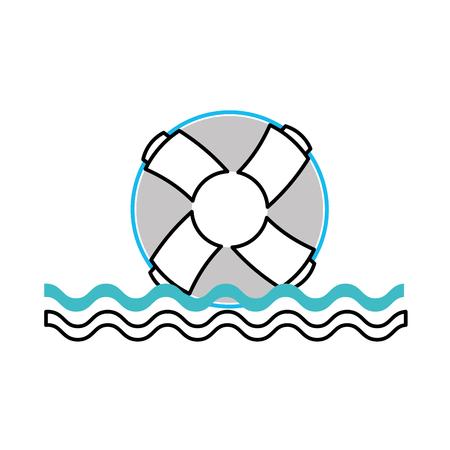 float lifeguard with sea waves vector illustration design Иллюстрация