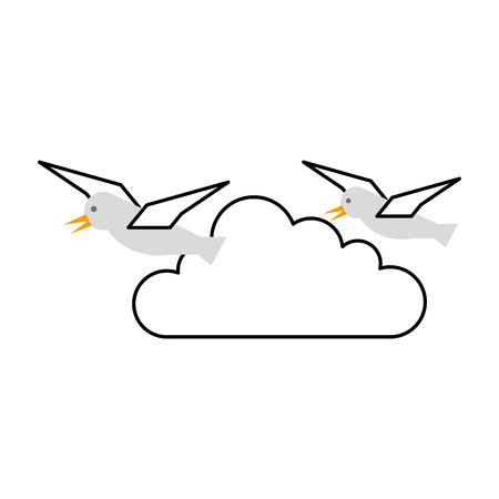 gulls flying isolated icon vector illustration design
