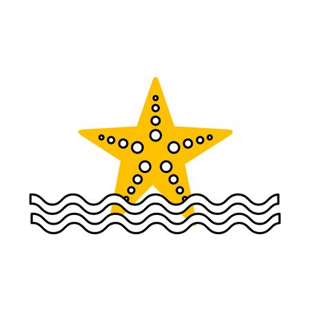 starfish sea life with waves vector illustration design