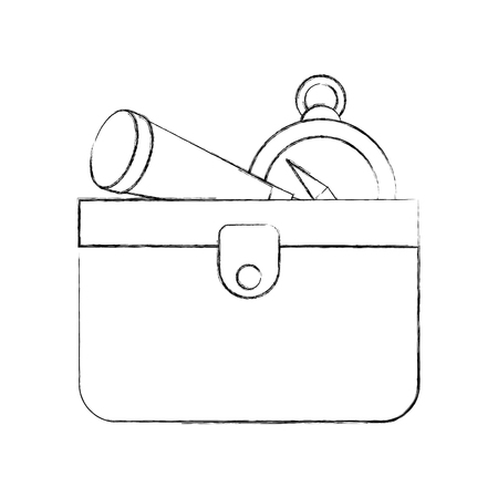 wooden trunk with telescope and compass vector illustration design