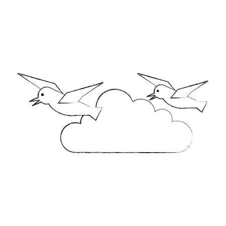 gulls flying isolated icon vector illustration design