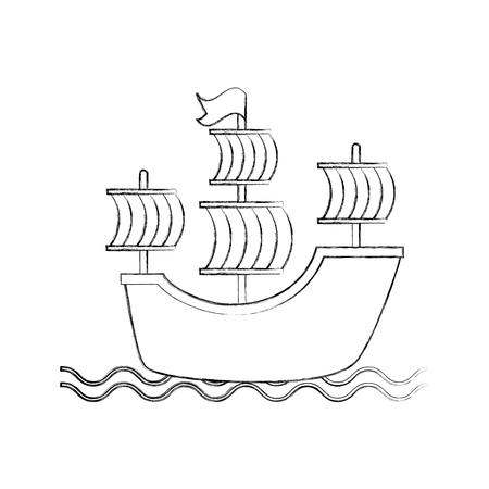 Antikes Segelboot isoliert Symbol Vektor-Illustration , Design , Standard-Bild - 84590742