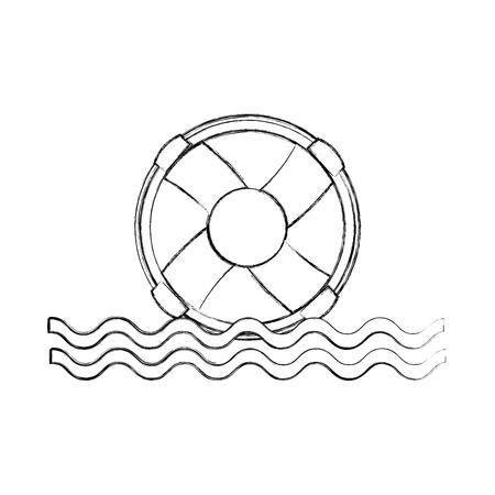 Bagnino galleggiante con onde del mare illustrazione vettoriale illustrazione Archivio Fotografico - 84590744