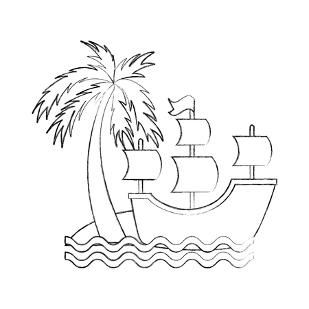 Antique sailboat on the beach vector illustration design Ilustracja