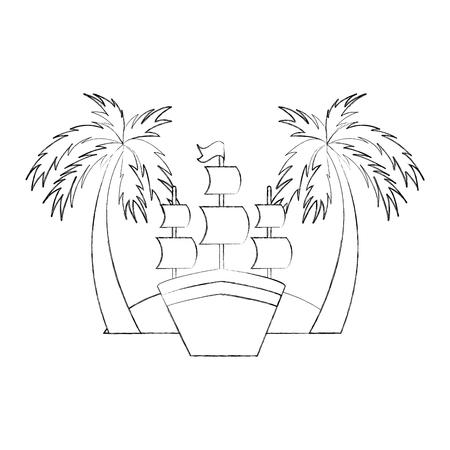 ビーチ ベクトル イラスト デザインのアンティーク帆船  イラスト・ベクター素材