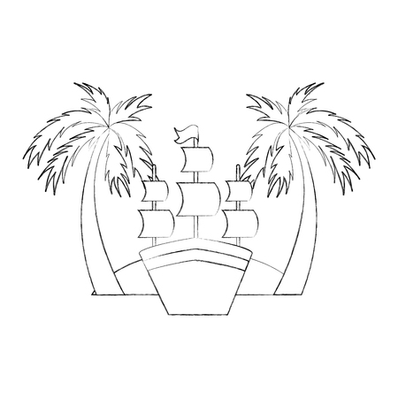 Antique sailboat on the beach vector illustration design Illustration