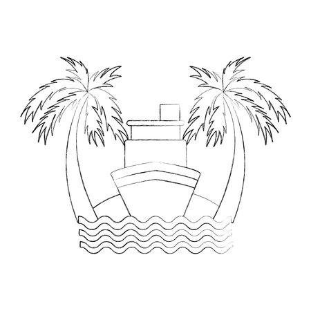 cruise boat on the beach vector illustration design