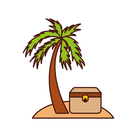 vintage furniture: wooden trunk on the beach vector illustration design Illustration