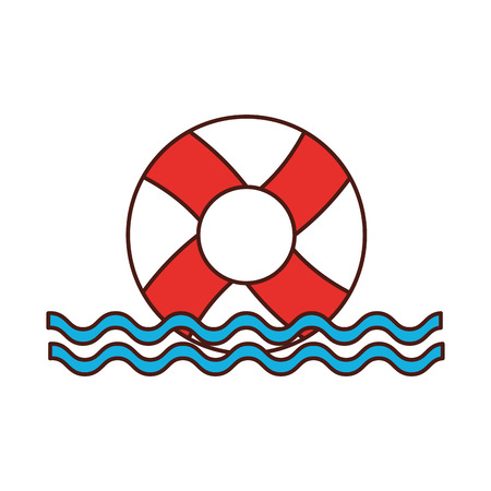 float lifeguard with sea waves vector illustration design Illustration