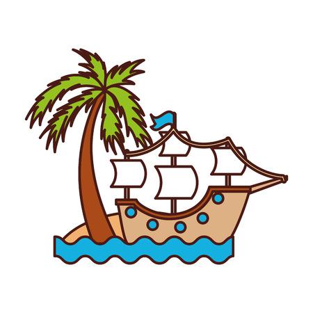 Antikes Segelboot am Strand Vektor-Illustration-design Standard-Bild - 84591630