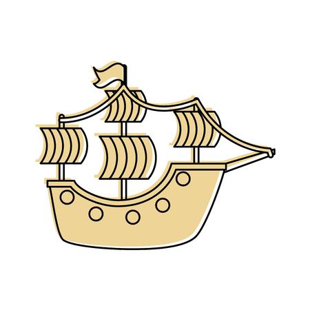 Antikes Segelboot isoliert Symbol Vektor-Illustration Design Standard-Bild - 84590995