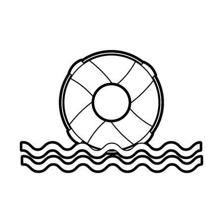 Bagnino galleggiante con onde del mare illustrazione vettoriale illustrazione Archivio Fotografico - 84591203