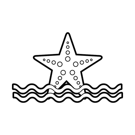 starfish sea life with waves vector illustration design Stock fotó - 84591204