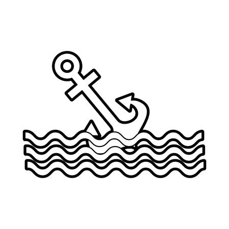 波ベクトル イラスト デザインと海上アンカー  イラスト・ベクター素材