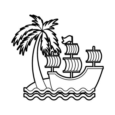antique sailboat on the beach vector illustration design