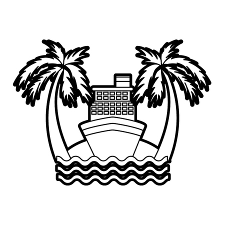 해변 벡터 일러스트 디자인에 크루즈 보트