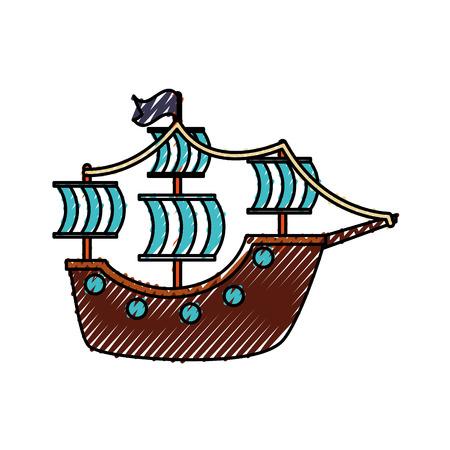 antique sailboat isolated icon vector illustration design Иллюстрация