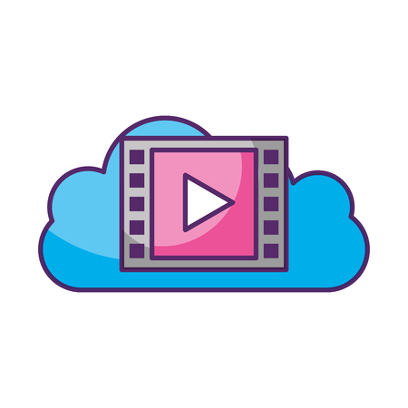 cloud computing with media player vector illustration design