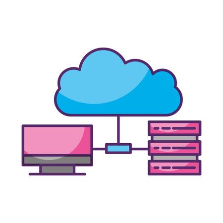 cloud computing with server vector illustration design Illustration