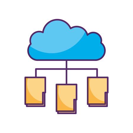 cloud computing with folder vector illustration design