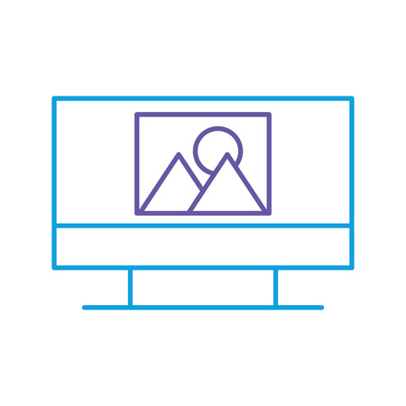 monitor computer with picture file isolated icon vector illustration design