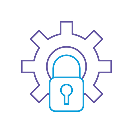 gear with safe padlock isolated icon vector illustration design