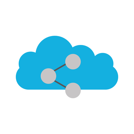 cloud computing with share symbol isolated icon vector illustration design