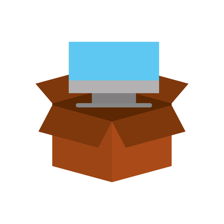 box with monitor computer isolated icon vector illustration design Illustration