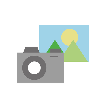 Fotocamera con icona di file isolato icona illustrazione vettoriale di progettazione Archivio Fotografico - 84593199
