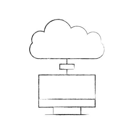 monitor computer with cloud computing vector illustration design 版權商用圖片 - 84593252