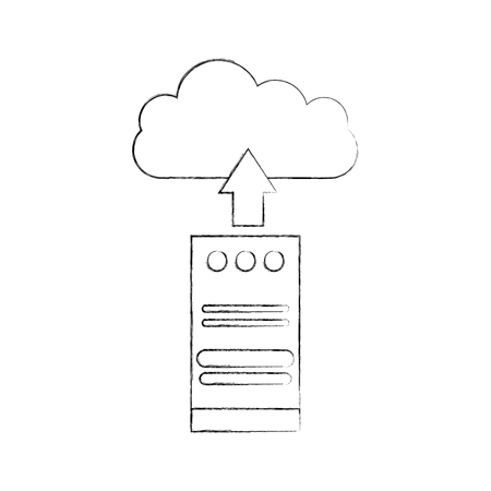computer tower with cloud computing vector illustration design Stok Fotoğraf - 84593260