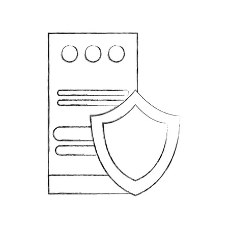 computer tower with shield vector illustration design
