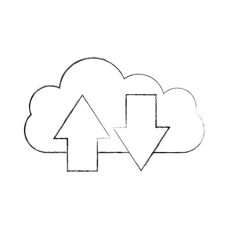 cloud computing with arrows vector illustration design Ilustrace
