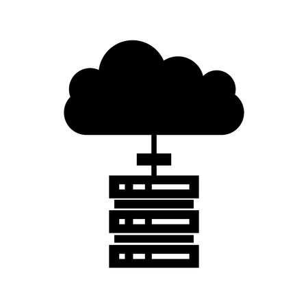computer tower with cloud computing vector illustration design Stok Fotoğraf - 84593339