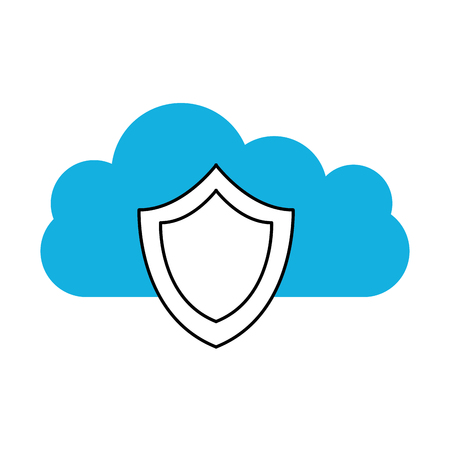 cloud computing with shield vector illustration design