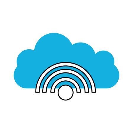 cloud computing con wifi segnale illustrazione vettoriale illustrazione