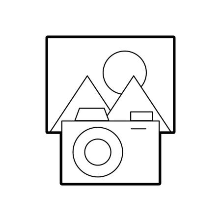 Fotocamera con file immagine isolato icona illustrazione vettoriale di progettazione Archivio Fotografico - 84593439