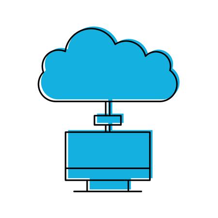 Surveiller ordinateur avec cloud computing vector illustration conception Banque d'images - 84593444